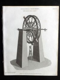 Rees 1820 Antique Print. Astronomical Instruments 10 Troughton's Mural Circle